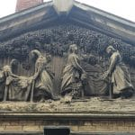 Photo of sculpture detail in the Worcester buildings