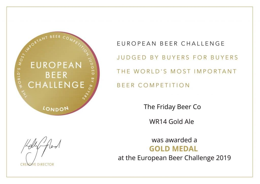 The certificate presented to Friday Beer for WR14 golden ale from the European beer challenge