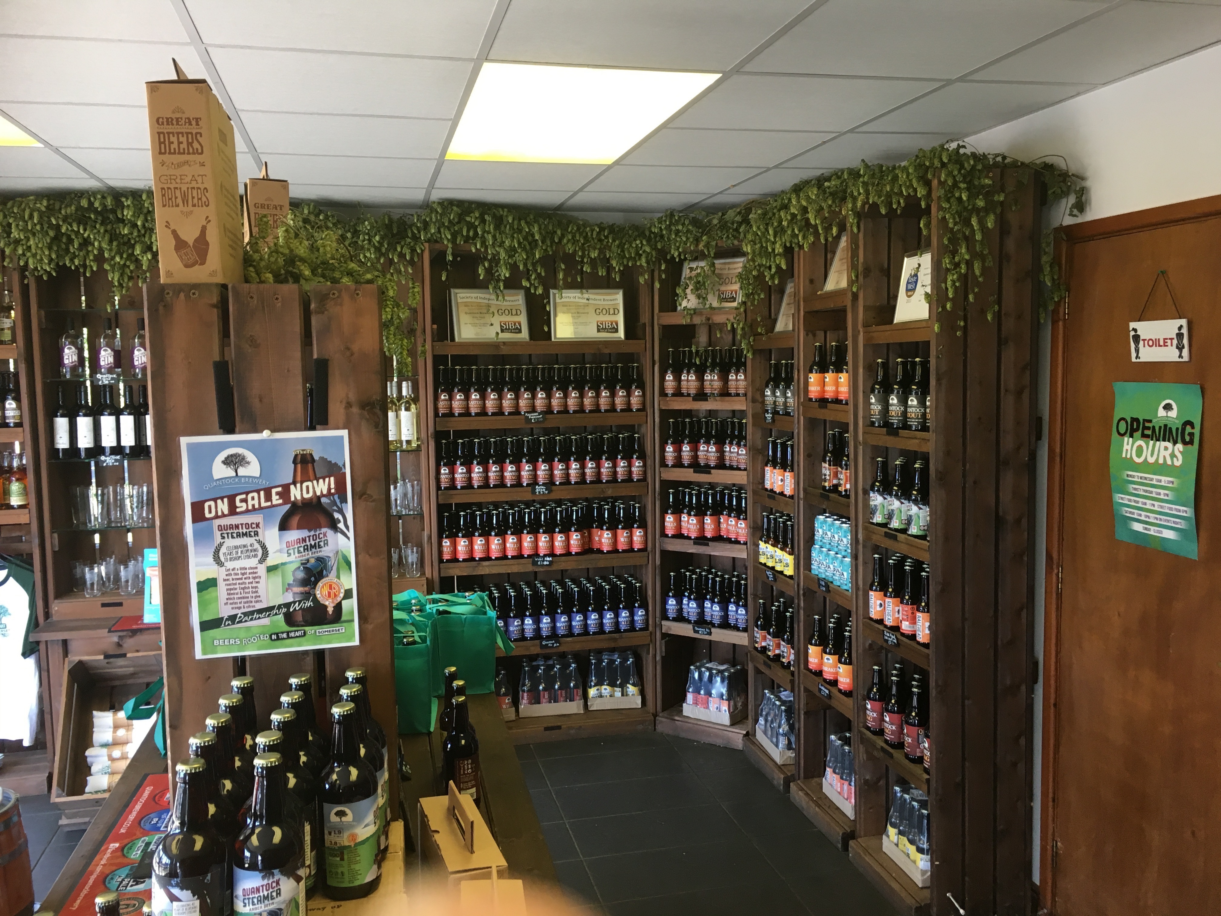 Photo of hops decorating Quantock Brewery's shop