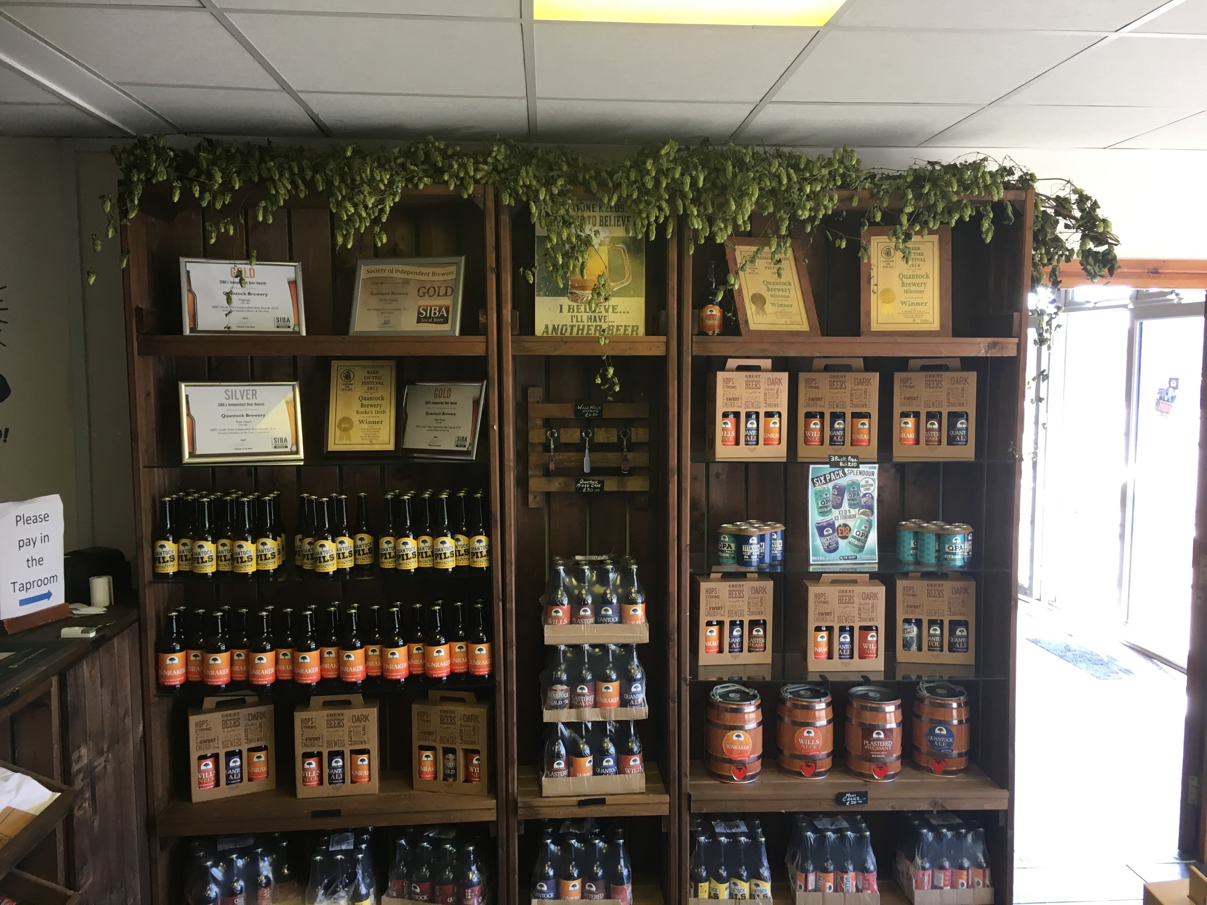Photo of bines decorating Quantock Brewery's shop